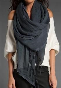 Love Quotes Linen Tassel Scarf in Charcoal