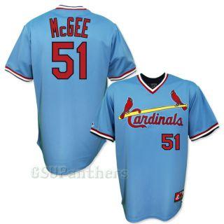 Willie McGee St Louis Cardinals Cooperstown Blue Away Jersey Sz M 2XL