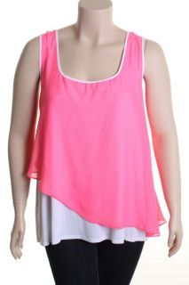 Love ady New Pink Chiffon Contrast Trim Asymmetrical Tank Top Shirt