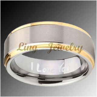 8mm Tungsten Gold Two Tone Engraved I Love You Ring Sz 11