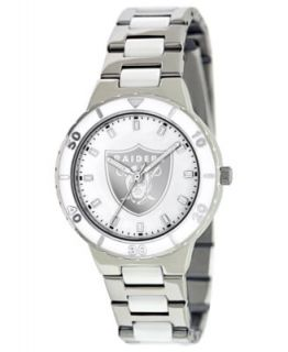 Game Time Watch, Womens Oakland Raiders White Ceramic and Stainless
