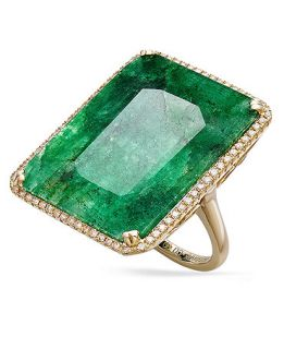 14k Gold Ring, Dyed Green Sapphire (22 1/2 ct. t.w) and Diamond (1/3