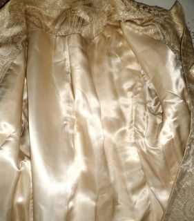 Vintage 60s Gold Metallic Brocade Princess Cocktail Swing Dress Coat