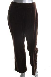 New York New Brown Stretch Velour Lounge Pants Plus 2X BHFO