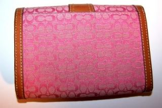 Authentic Coach Pink Mini C Logo Standard Wallet Jacquard Canvas