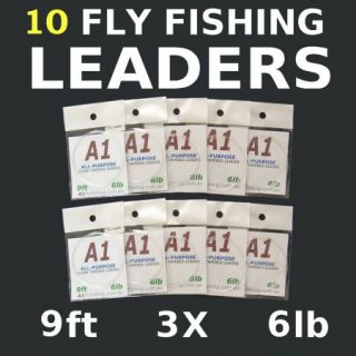 10 x 6lb Fly Fishing Leaders Ready for Rod Line Reel