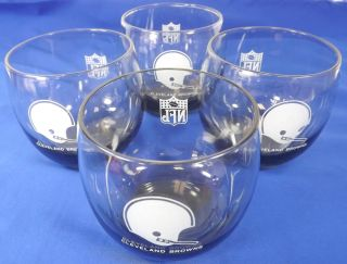 of 4 Vintage NFL Cleveland Browns Helmet Lowball Short Glasses
