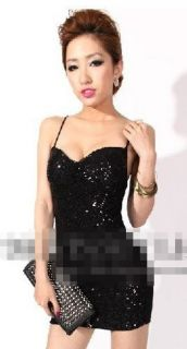 Sexy Low Cut Sequined Sparking Braces Dress Black Womens Club Dress
