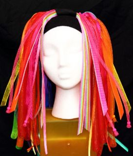 Cyber falls   Neon Nights – Rainbow Cyberlox hair rave dread UV