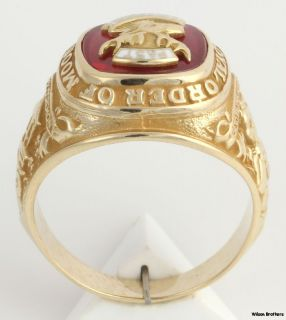 Past Governor Loyal Order of the Moose Ring   10k Yellow Gold Syn Red