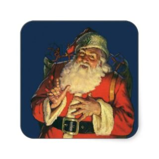 Vintage Santa Claus with Toys on Christmas Eve Sticker