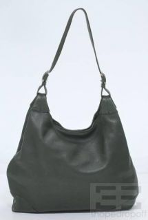 Loro Piana Dark Green PEBBLED Leather Hobo Bag