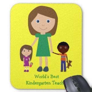 Worlds Best Kindergarten Teacher Cute Cartoon Mouse Pads