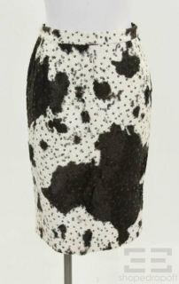 Luca Luca Black White Cow Print Sequined Skirt Size 42