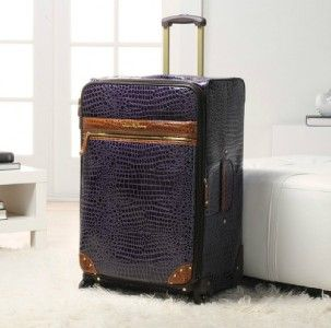 Samantha Brown Croco Embossed Luggage 28 Upright with Spinners Purple
