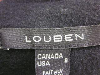 Louben Black Wool Long Sleeves Buttons Jacket Coat Sz 8