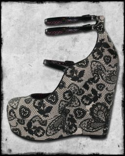 Iron Fist Lovelace Ivory Black Butterfly Lace Print Platform Wedge
