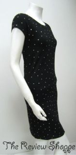 Luisa Cerano Cap Sleeve Studded Knit Shift Dress Black 4