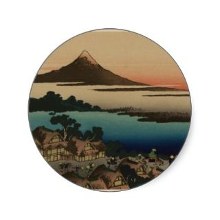 Vintage Japanese Woodcut ~ Mount Fuji & Village Round Stickers