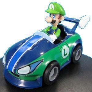 Mario Kart Wii Pull Back Racer Vehicle Figure Speedy Luigi