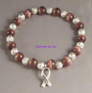 Lupus Awareness Cats Eye Filigree Bracelet w Charm