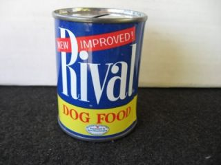 Vintage Rival Dog Food Tin Bank All Tin Removable Bottom