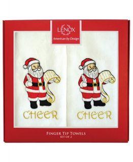 Lenox Bath Towels, Set of Two Santa Cheer Finger Tip Towels