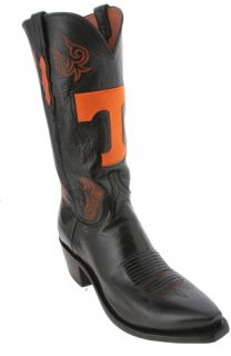 Lucchese Black University Tennessee NCAA Mens Cowboy Boots