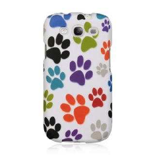 Luxmo Samsung Galaxy s III S3 I747 i9300 White Colorful Dog Paws Gel