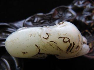 Natural Chinese Dog Hetian Nephrite Jade Pendant