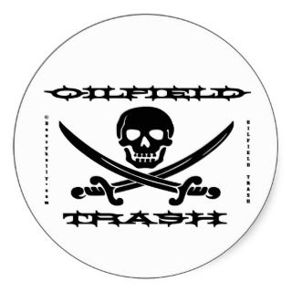 Oil Field Trash Hard Hat Sticker,Skull,Bones,Oil