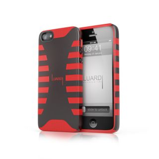 Dual Rubber Plastic Case for iPhone 5 Black Red from Brookstone