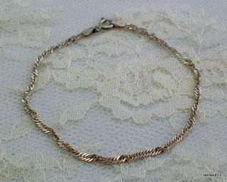 Sterling Silver Bracelet Twisted Chain 925 Italy 7 Long