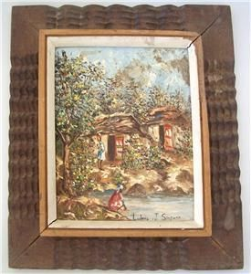 Original Signed Ludovic J Simpson Haitian Art Village Scene Painting