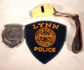 Vintage Lynn Massachusetts Police Badge Patch Whistle