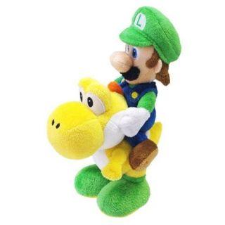 Sanei Super Mario Plush Series Plush Doll Luigi Riding on Yoshi