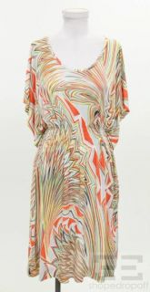 Missoni Grey Orange Yellow Abstract Print Jersey Dress Size US 6