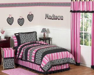 Funky Pink Black Luxury Polka Dot Kids Twin Teen Girls Bedding Set