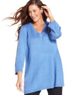 Karen Scott Plus Size Sweater, Three Quarter Sleeve Tunic
