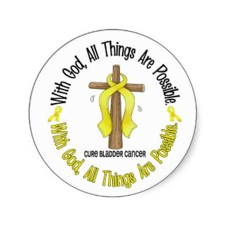 Bladder Cancer WITH GOD CROSS 1 Sticker
