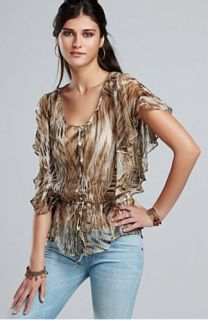 Lucky Brand Jeans Blouse Veronique Chiffon Sheer Top Animal Print Sz