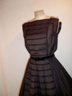 Vintage 50s Lucy Chocolate Striped Fit Flare Full Skirt Swing Party