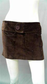 Lucy Love Junior s Velour Mini Skirt Brown Solid Designer Fashion
