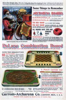 1901 Ludington Christmas Santa Carrom Game Board Toy Ad