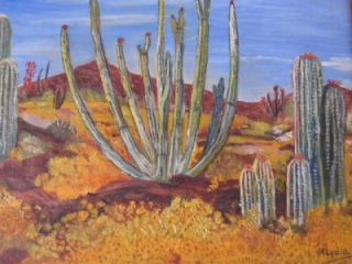Original Desert Landscape Painting Oil on Board Signed M Lydia