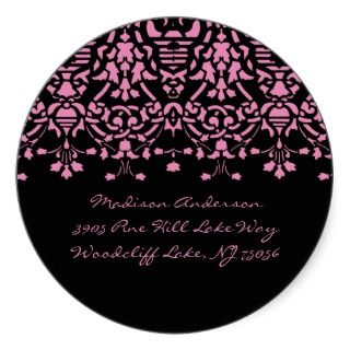 Elegant Pink & Black Damask Address Label Sticker