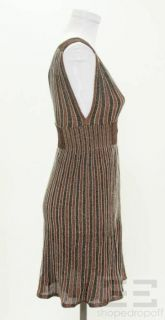 Missoni Brown Black Shimmer Knit Sleeveless Mini Dress Size 40