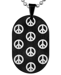Mens Stainless Steel and Black Ion Plated Necklace, Peace Sign Dog