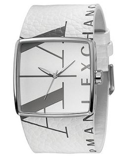 Armani Exchange Watch, White Leather Strap 38mm AX6000   All