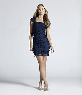 New $98 MSSP Max Studio Navy Blue Tiered Mesh Tiered Ruffle Dress S